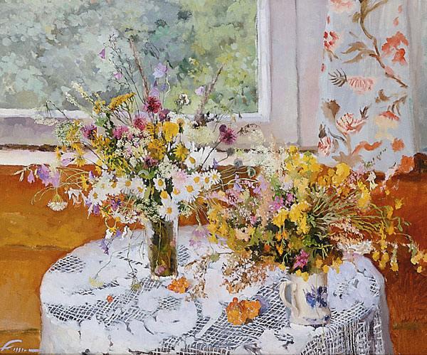 Полевые цветы дача живопись