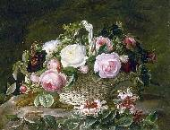 A still life of roses in a basket