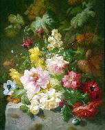 A still life with roses, marigolds and daffodils
